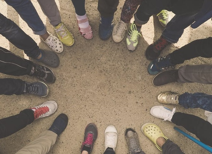 Group of Feet in a Circle